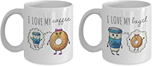 Couple Mugs, Coffee Meets Bagel Gift, Couple Anniversary Coffee Mugs, His and Hers Mug Set