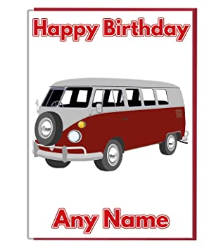 32ebcb5fc8 AK Giftshop Vintage Camper Van Themed Personalised Birthday Card - ADD A  NAME AND AGE  Amazon.co.uk  Office Products