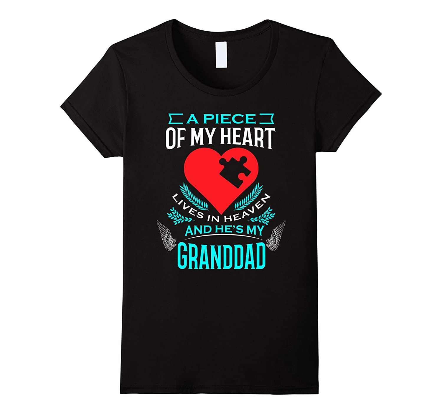 A Piece Of My Heart Lives In Heaven He's My Granddad T-Shirt