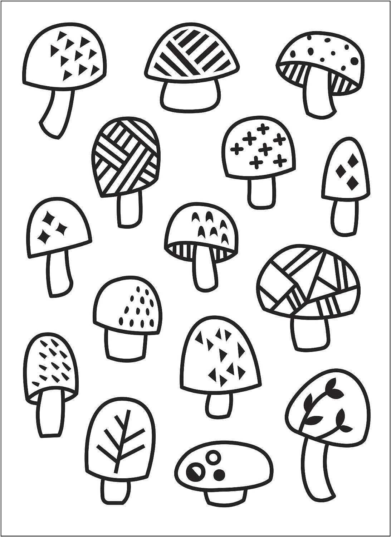 Darice Embossing Folder A6 Template Scattered Mushrooms Transparente