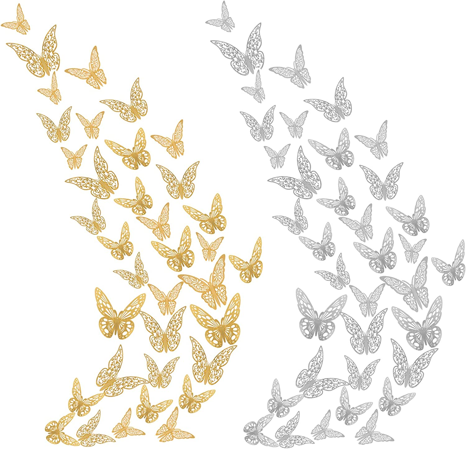 UKYLIN 3D Butterfly Wall Decor, 72Pcs, 3 Styles, 3 Size Gold and Silver Butterflies Room Decals for Wedding, Party, Bedroom Wall Cake DIY Decorations