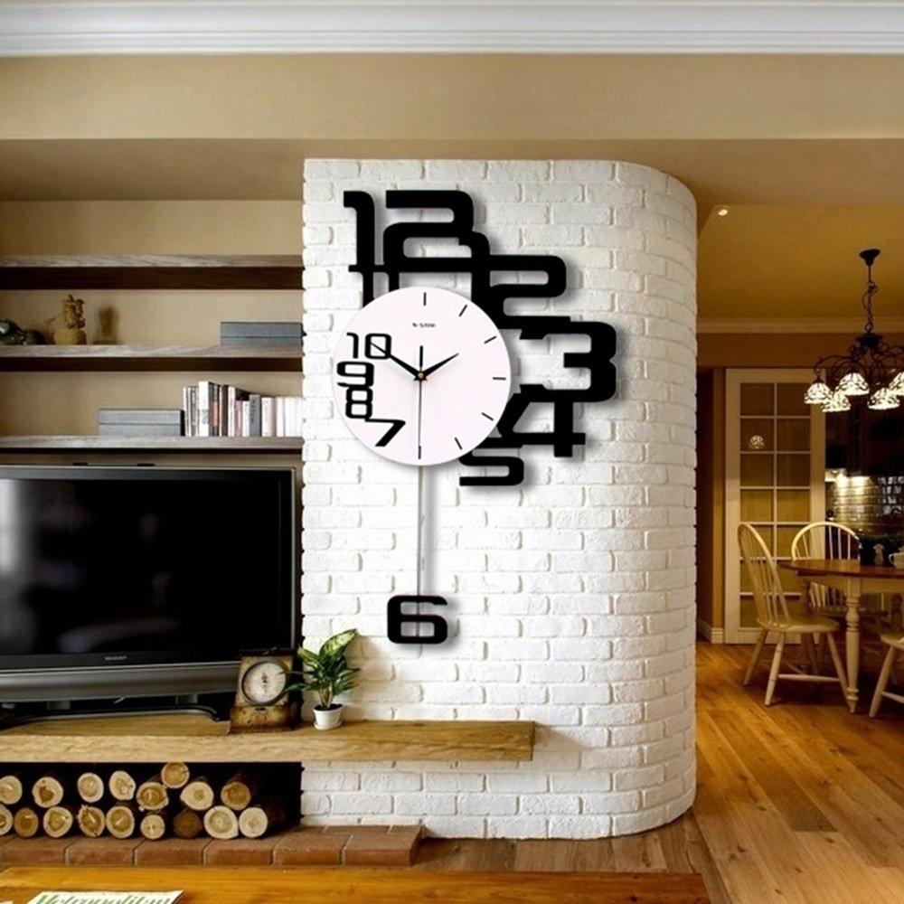 Personnalité du ménage muet horloge murale mur salon chambre quartz horloge ( taille : 38*62cm ) WEBO HOME