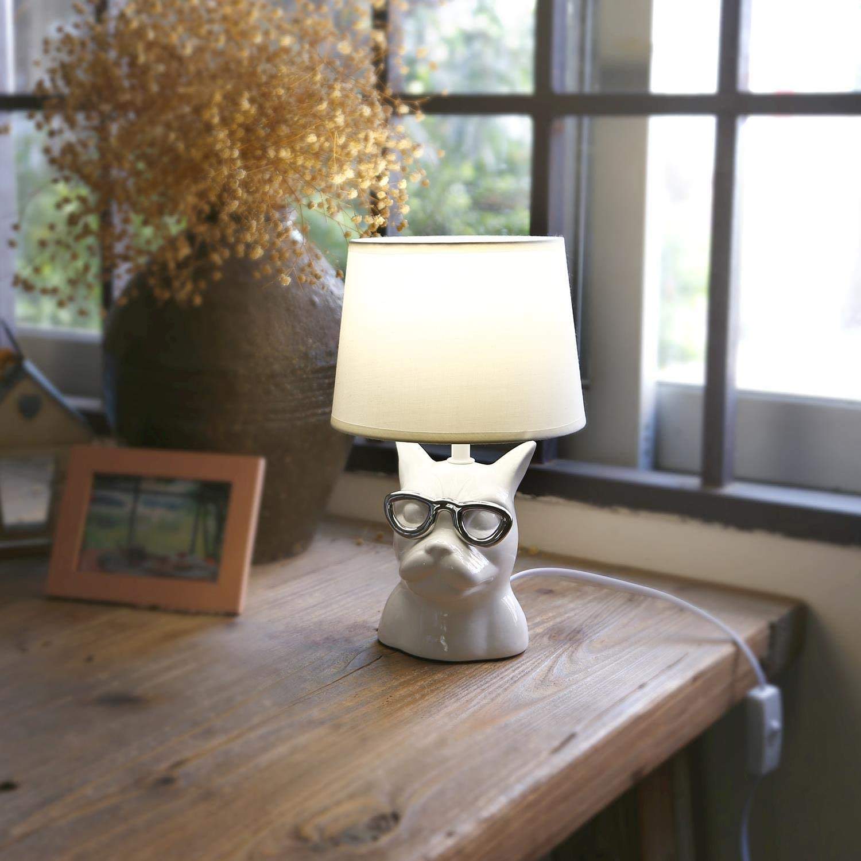 Design Vintage Attacco E14 Aigostar Lampada Da Comodino Moderna Lampada Da Tavolo Base In Ceramica Paralume In Stoffa 14 14 23cm Cavo 1 3 Metri Illuminazione Per Interni Keeper Lampade
