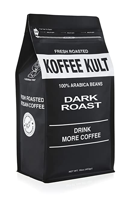 Koffee Kult DARK ROAST COFFEE - Organically Sourced Fair Trade Whole Bean Coffee