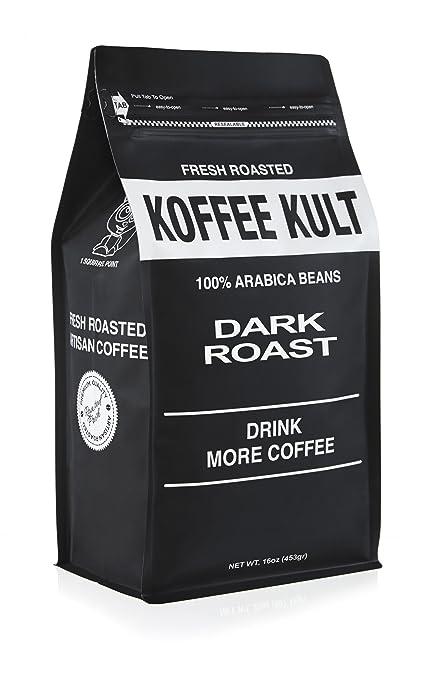 Koffee Kult DARK ROAST COFFEE - Organically Sourced Fair Trade Whole Bean Coffee