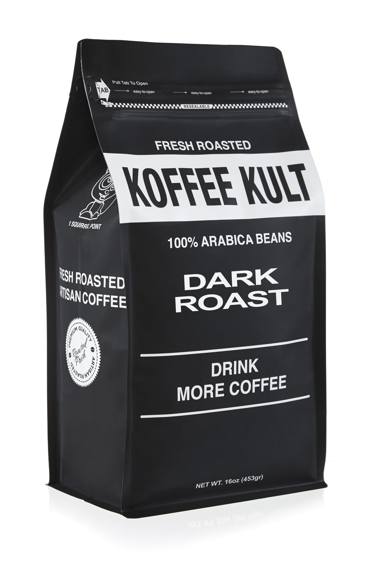 Koffee Kult DARK ROAST COFFEE (16oz) Highest Quality Delicious Specialty Grade Whole Bean Coffee - Fresh Gourmet Aromatic Artisan Blend