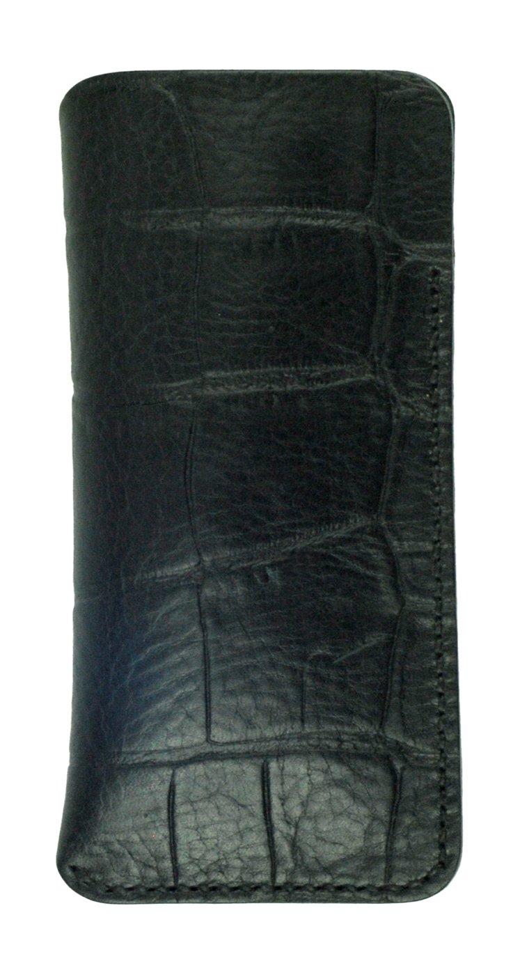 Glasses Sleeve, Black Crocodile Grain Leather, Handmade