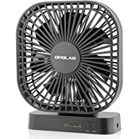 OPOLAR 5 Inch Desk Fan with Timer, USB or AA Battery Operated, 3 Speeds