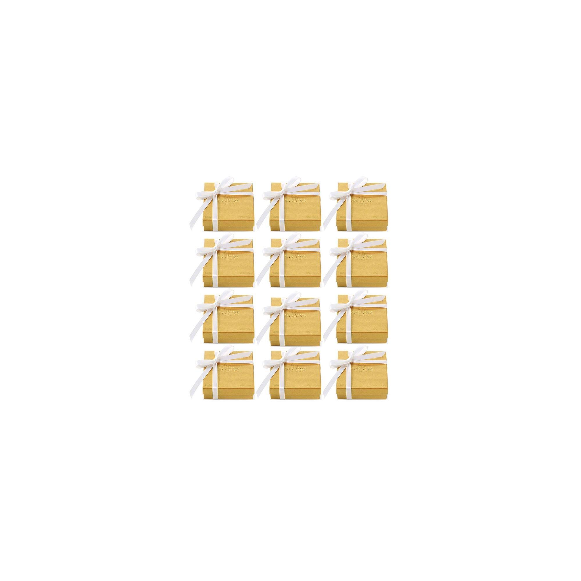 Godiva Chocolatier Assorted Chocolate Gold Favor Box, White Ribbon, Chocolate Wedding Favors, Birthday Favors, Set of 12 by GODIVA Chocolatier (Image #1)