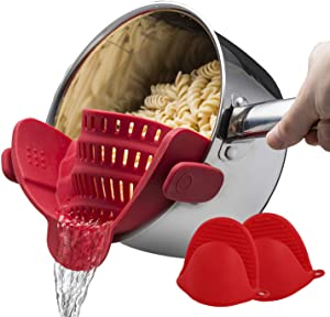 MEW Clip On Strain Strainer and Small Silicone Mitts, Flexible Food Colander for Draining Spaghetti, Ground Beef and Vegetables Fits all Pots and Bowls