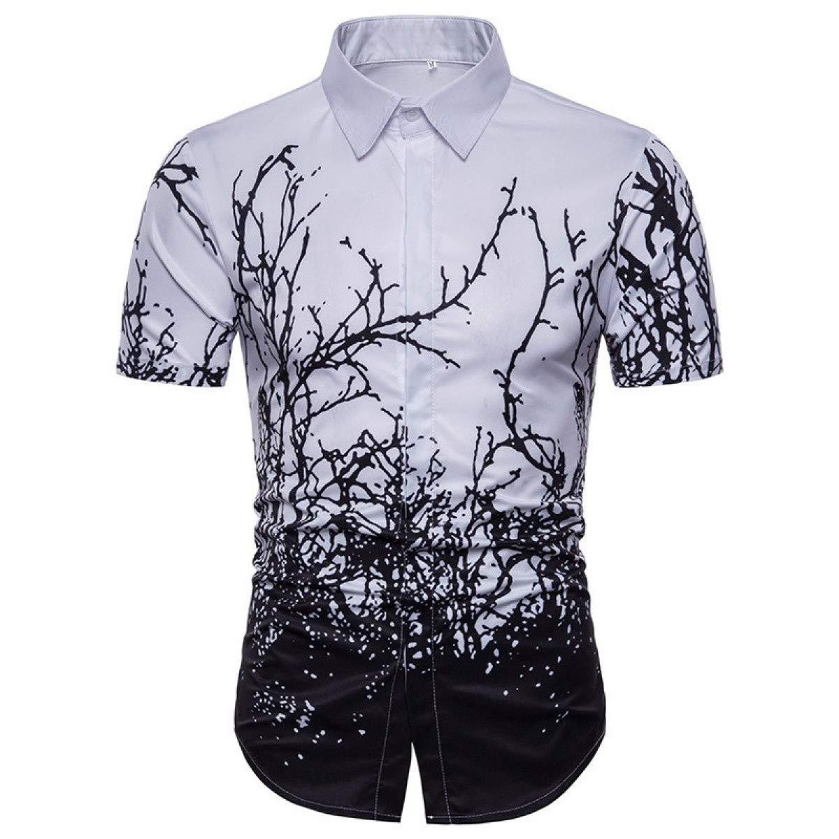 Aloha Shirt Men Fashion 3D Tree Branchs Summer New Short Sleeve Casual Dress Shirt Men Slim Fit