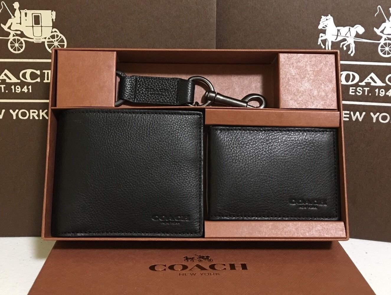 Coach 64118 Black Mens Compact Id Sport Wallet and Trigger Snap Keyfob Set