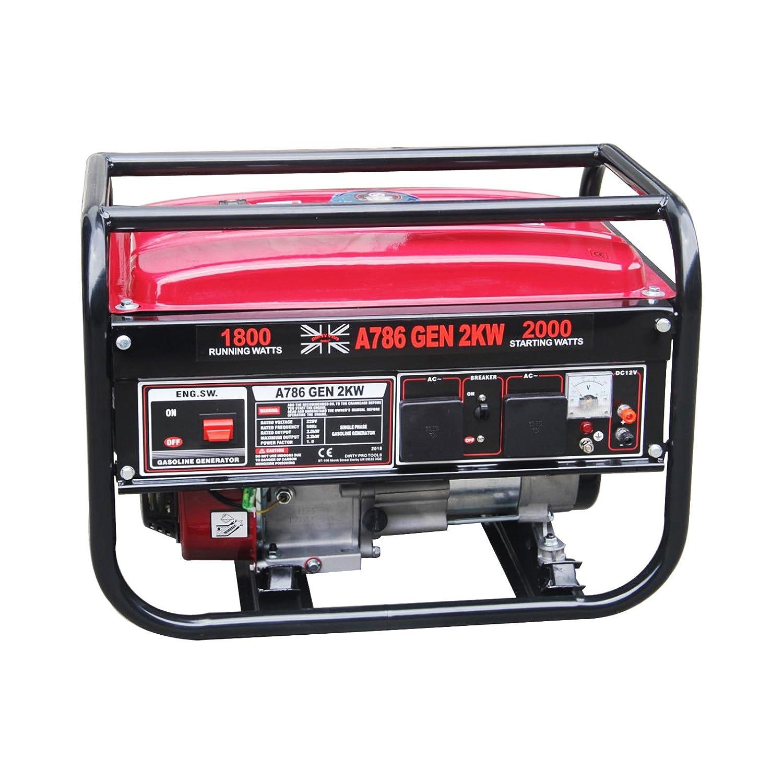 Dirty Pro Tools Petrol generator 2000 W copper motor 2 KVA/2KW 6.5HP DC Petrol Generator - 12V/50HZ UK PLUG