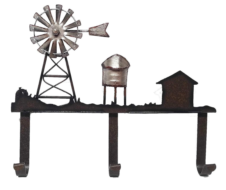 Farmhouse Decor Windmill Scene Wall Coat Utility Hooks 10