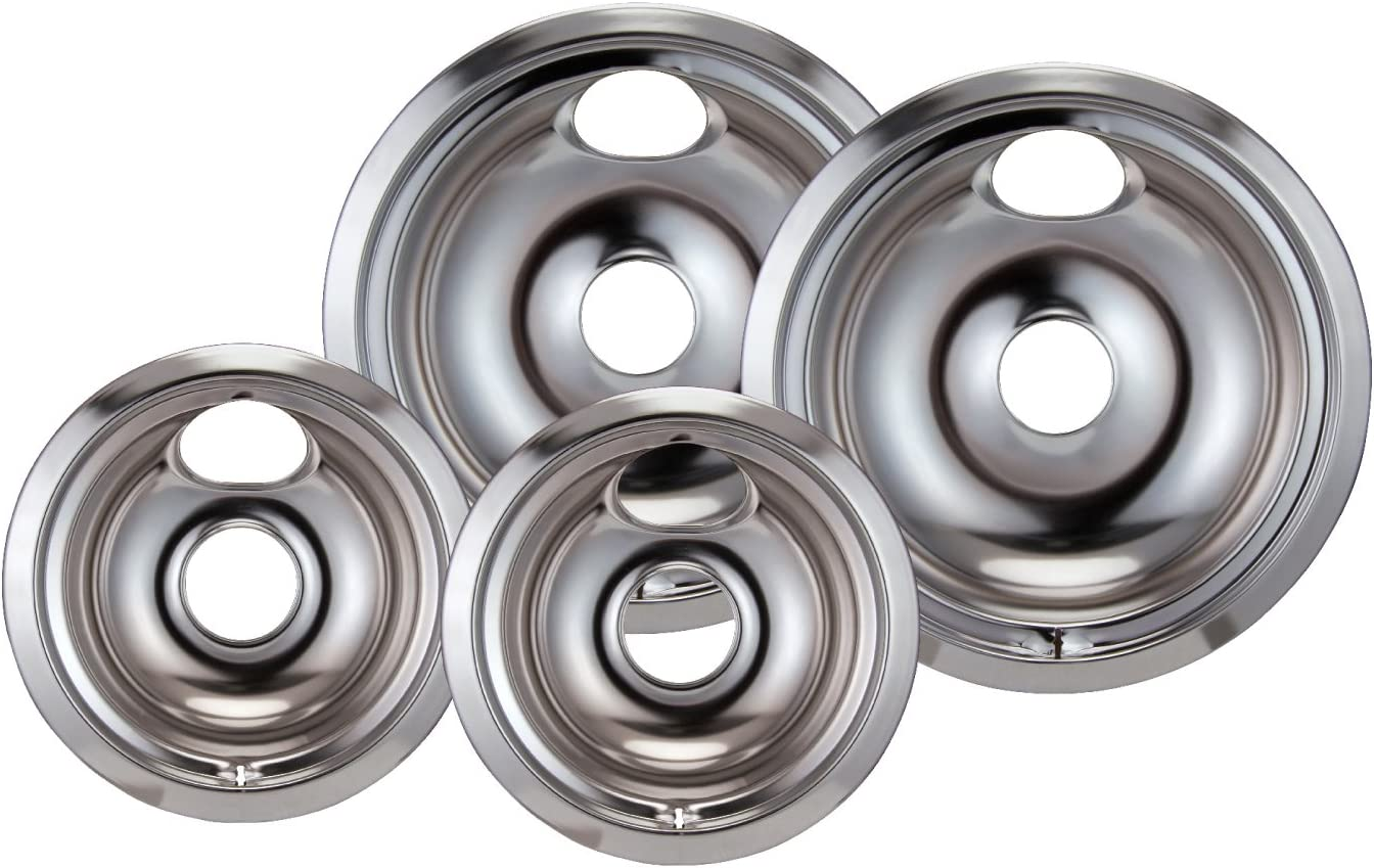 STOVE RANGE COOKTOP CHROME STEEL DRIP BOWL PANS 4 PACK