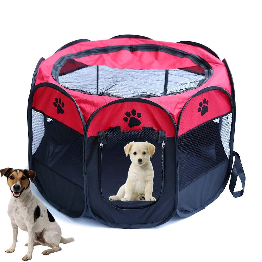 Red S(L x W x H)72 X 72 X 45CM Red S(L x W x H)72 X 72 X 45CM Zongsi Foldable Pet Dog Tent Octagonal Pet Cat Fence Dog Carrier Cage Portable Playpen For Dog Cat Rabbit Kennel Indoor Outdoor Travel House Oxford Cloth Waterproof(S,Red)
