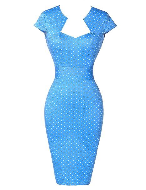 GRACE KARIN Vestidos Azules Puntitos Azules Vestido de Fiesta Causual Lápiz Vintage Vestido 2XL 4#