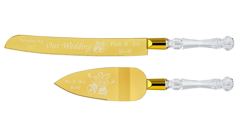 Amazon.com | Personalized Gold Plated Wedding Cake Knife & Server ...
