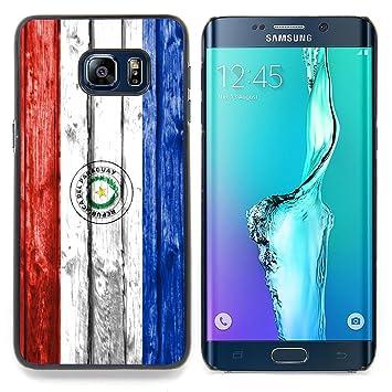 FJCases Paraguay Paraguayo Bandera con Patrón de Madera Carcasa Funda Rigida para Samsung Galaxy S6 Edge