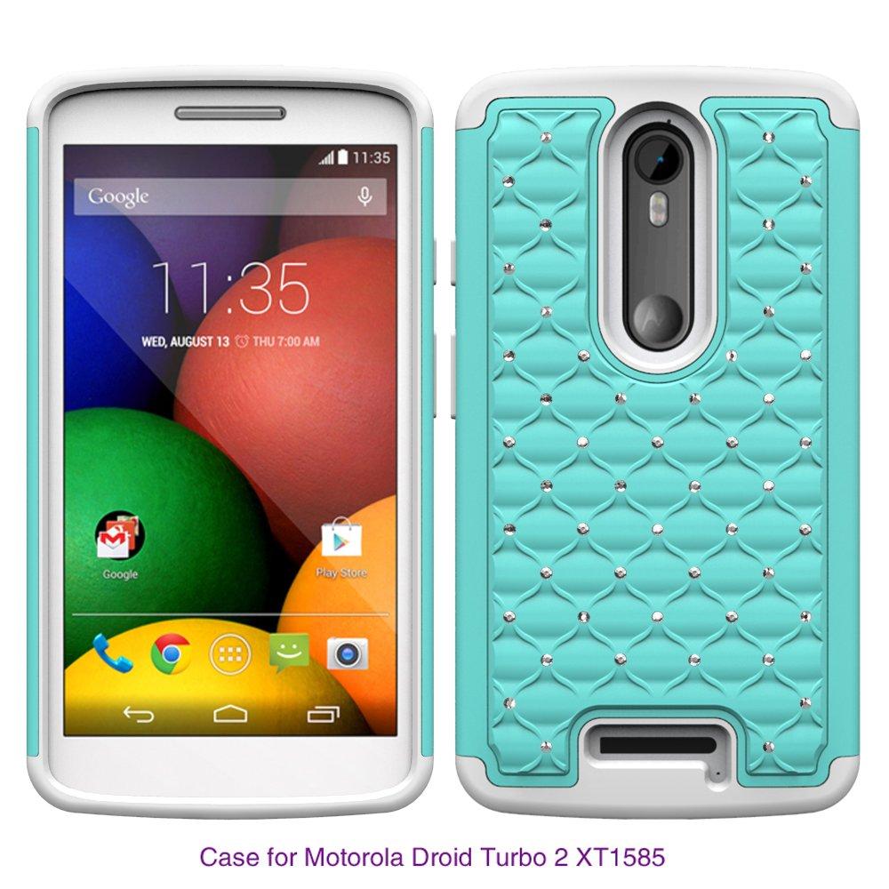 Motorola Droid Turbo 2 Case, Moto X Force, Kinzie Bounce Case - Hybrid Diamond Bling Crystal Rhinestone Dual Layer Cover Silicone Hard Bumper Case For Moto ...