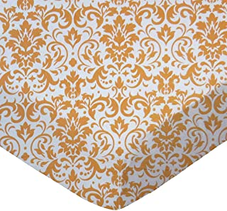 product image for SheetWorld Fitted Sheet (Fits BabyBjorn Travel Crib Light) - Gold Damask - Made In USA