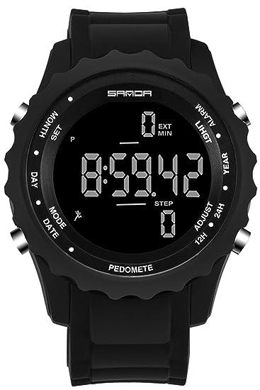 Sanda para hombre reloj Digital podómetro Senderismo Deporte Militar al Aire Libre electrónico LED impermeable cuarzo: Amazon.es: Relojes