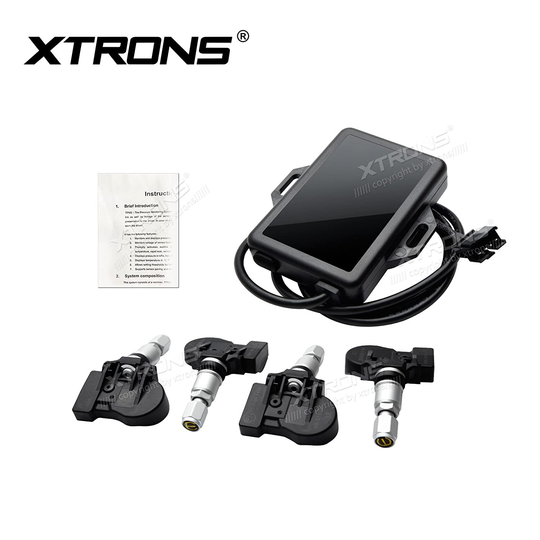 Xtrons Auto TPMS Reifendruckkontrollsystem Tire Pressure Monitoring System Reifendruckkontrolle mit 4 Externe Sensoren Reifendruck Voltage Temperatur Anzeig Android Gerä te TPMS05