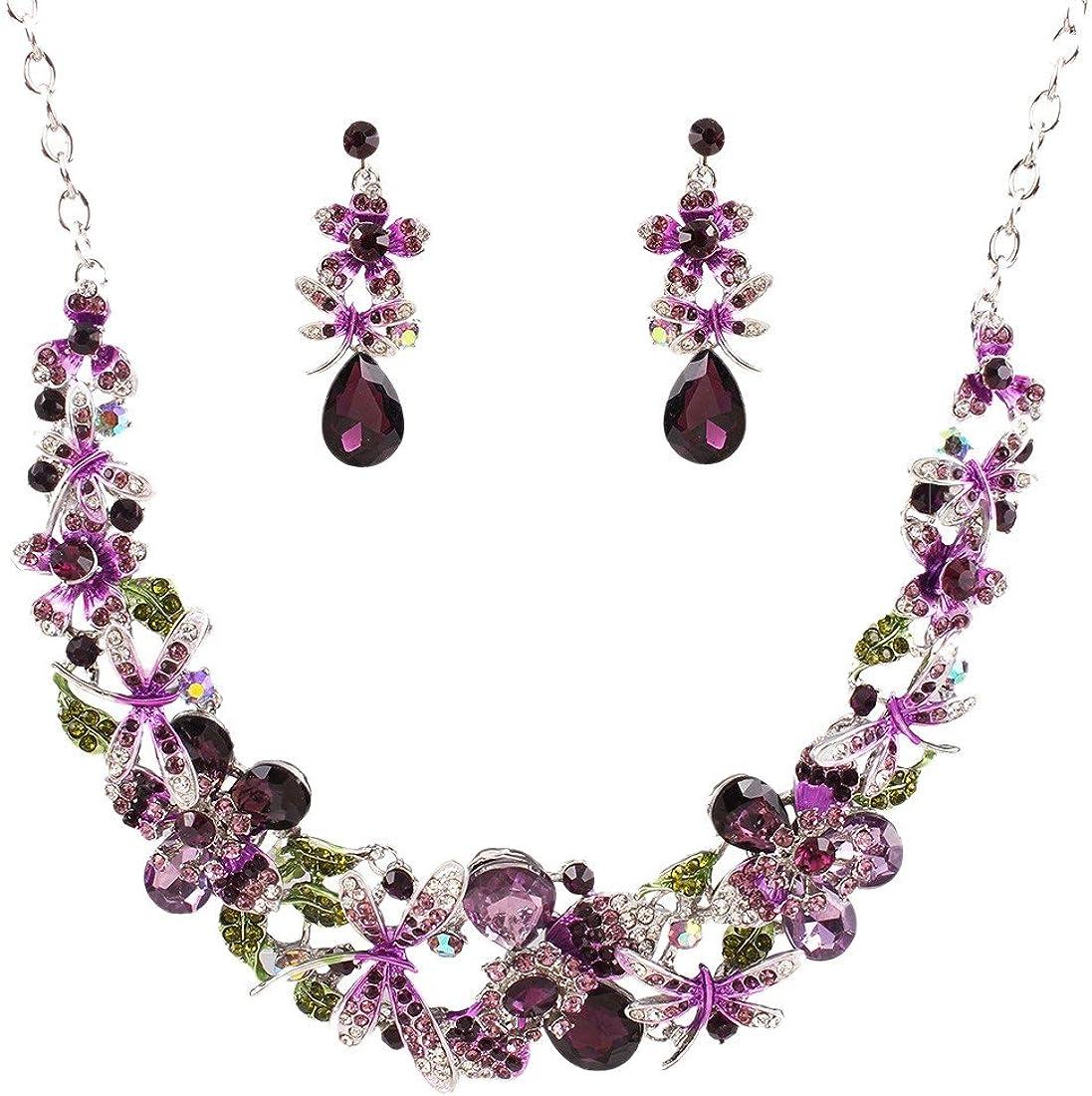 QIYUN.Z Cristal Cluster Perlas Mujeres Babero Flor Libelula Collar De Piedras Preciosas Aretes
