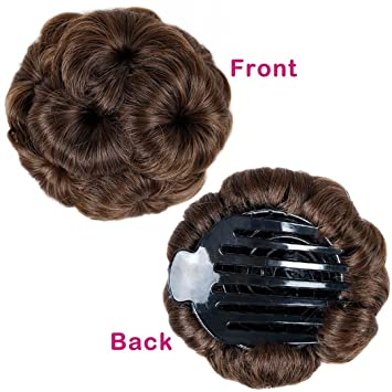 Amazon.com   Synthetic Fiber Curly Chignon Elastic Band Scrunchie Fake Hair  Extension Bundles Updo Hairpiece Buns Drawstring For Woman Light brown    Beauty 8f5da193759