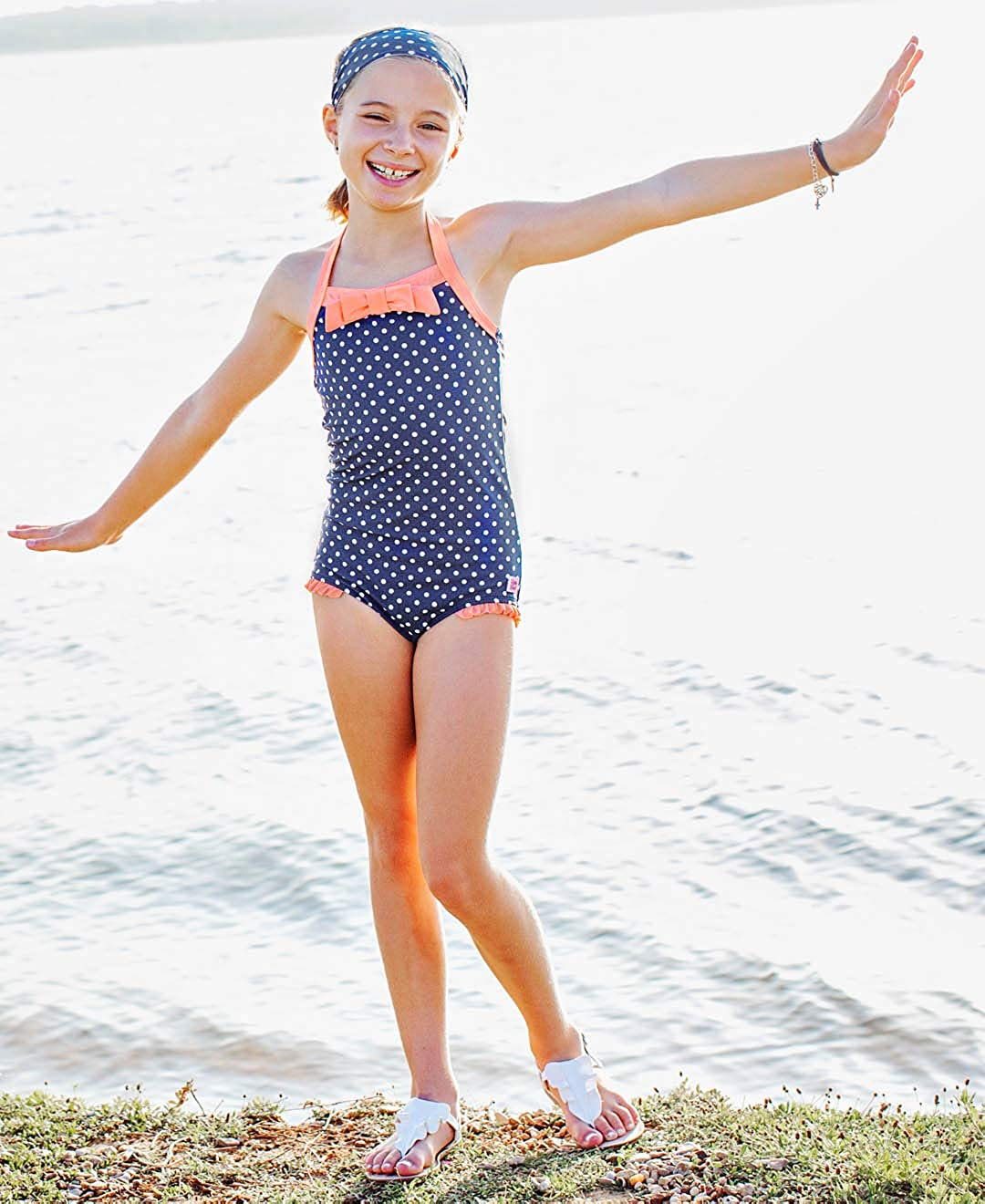 RuffleButts Little Girls Vintage Style Halter One Piece Swimsuit with UPF 50 Sun Protection