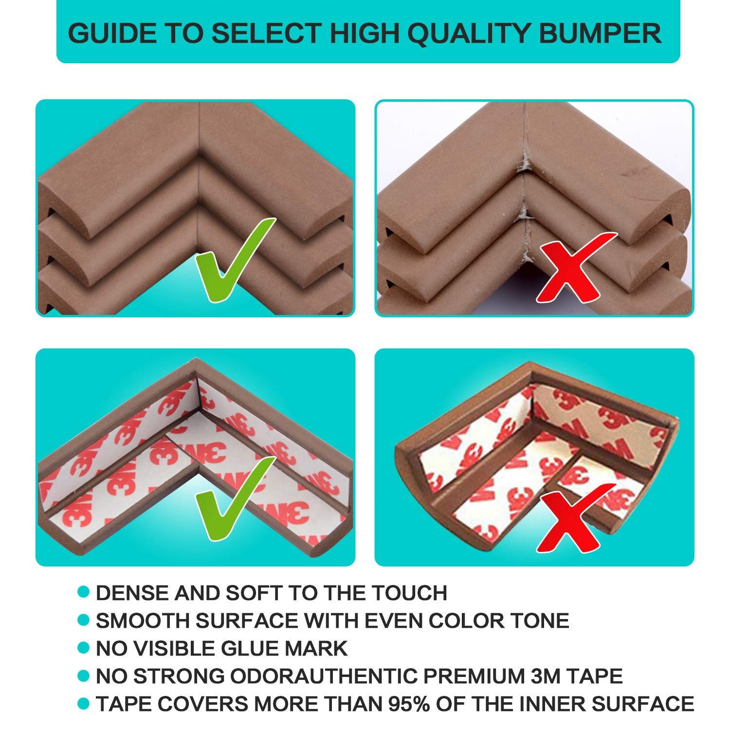 Baby Proofing Edge and Corner Guards,NBR Rubber Set for Safe Edge & Corner Guards Cushion,23Ft [19.68Ft Edge + 8 Corner],Child Safety Furniture Bumper(Brown) by COCOLi (Image #4)