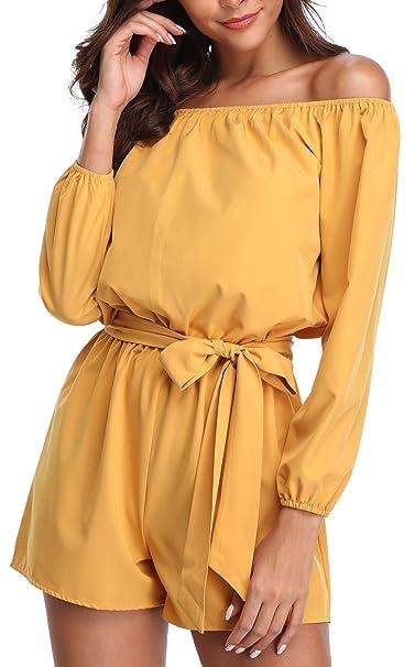53eede0e8855 Miss Moly Damen Schulterfrei 3 4 Ärmel Jumpsuit Kurz Playsuit Overal Elegant  mit Gürtel  Amazon.de  Bekleidung