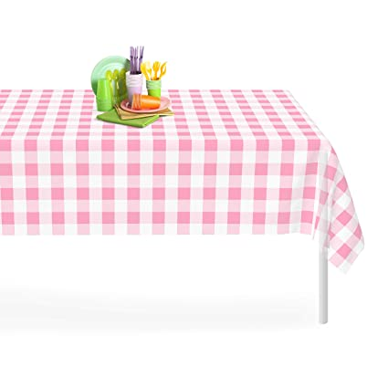 Charmant Grandipity Pink Checkered Gingham 1 Pack Premium Disposable Plastic  Tablecloth 54 Inch. X 108 Inch