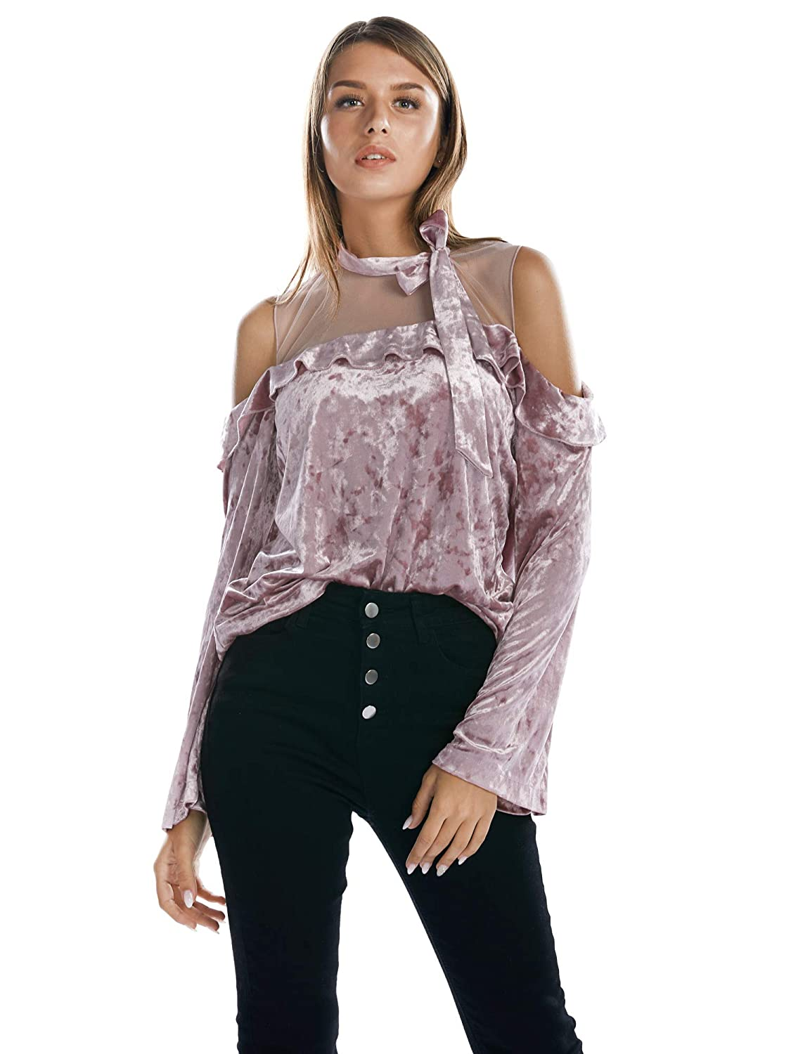 BARGOOS Women Cold Shoulder Velvet Tops Hollow Out See Through Velour Shirts Frills Ruffle Sleeve Bowknot Mesh Pullover Shirt Tops