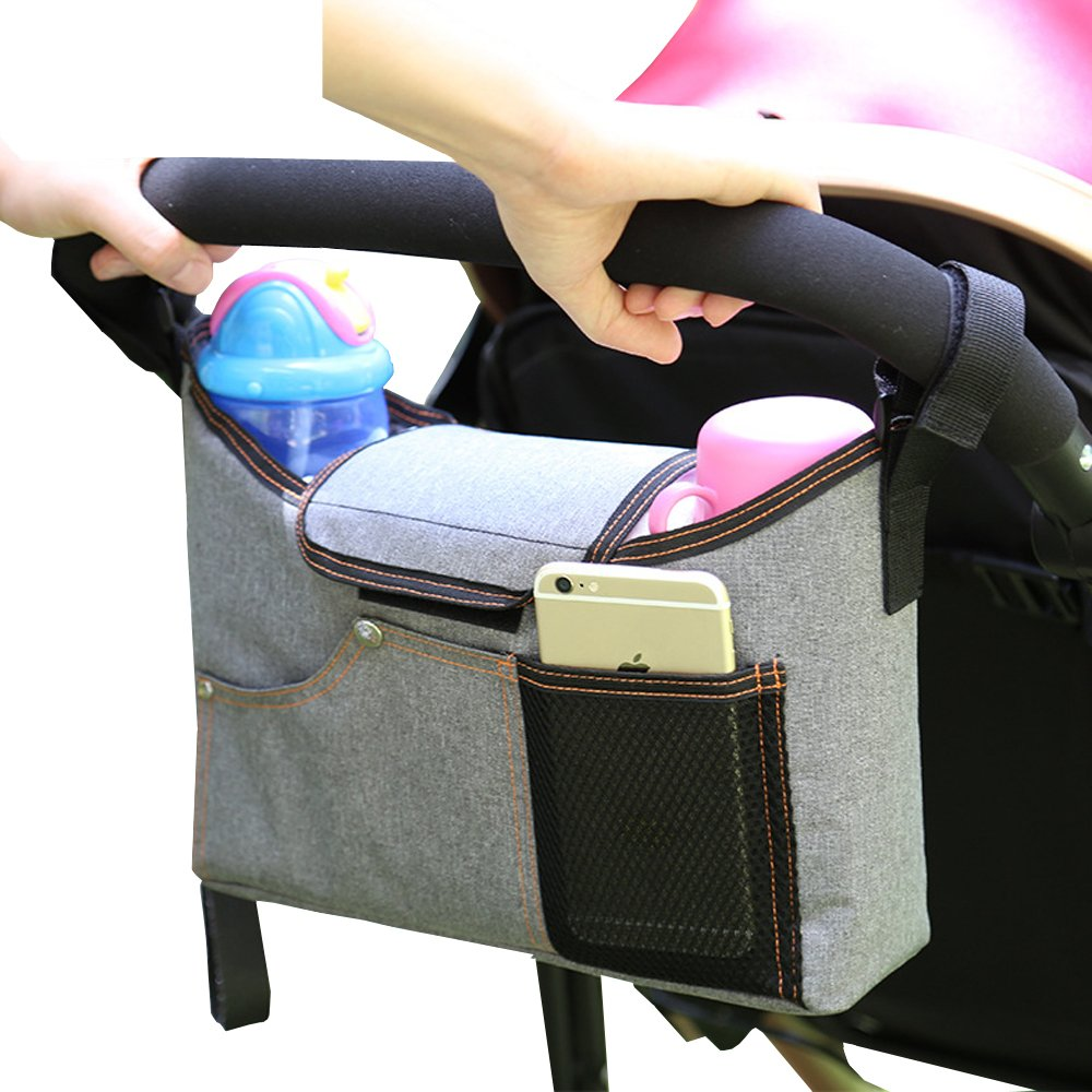 AIYoo Baby Stroller Organizer Bag for Smart Moms,Diaper Bag with Cup Holders and Shoulder Strap Gray Travel Bag for Organize The Baby Accessories for Carrying Bottles, Diapers, Toys & Snacks Lemeijia LJ-177-Gray
