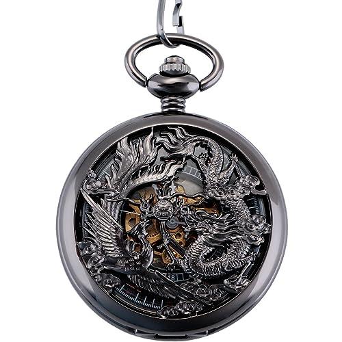 ManChDa Antike Mechanische Taschenuhr Lucky Dragon & kylin (Wünsche) Bronze Skelett-Zifferblatt mit Kette + Geschenk-Box