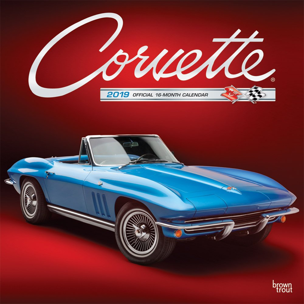 Corvette 2019 12 x 12 Inch Monthly Square Wall Calendar with Foil Stamped Cover, Chevrolet Motor Muscle Car (Multilingual Edition) by BrownTrout Publishers