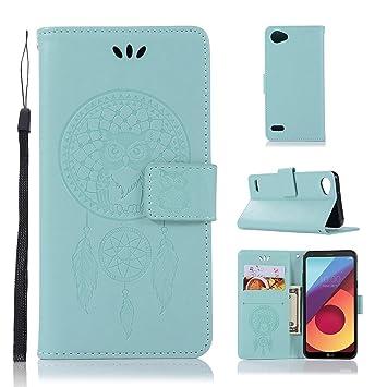 pinlu® Funda para LG Q6 Plus/LG Q6 Precioso Flip Billetera Carcasa PU Leather con Ranuras de Soporte Función Cierre Magnético Diseño Búho Patrón Verde