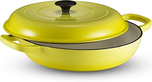 Amazon.com: Klee Enameled Cast Iron Casserole Braiser Pan with Lid, 3.8 Qt,  12-Inch (Yellow): Kitchen & Dining