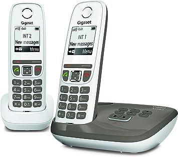 Gigaset AS470A Duo - Teléfono (Teléfono DECT, Terminal inalámbrico, Altavoz, 100 entradas, Identificador de Llamadas, Gris Pardo, Blanco): Amazon.es: Electrónica