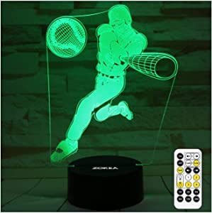 ZOKEA Baseball Gifts for Boys Men Baseball Lamp Bedroom Baseball Decor with 7 Colors Changing Touch & Remote Control 3D Baseball Night Light Kids Christmas Birthday Gifts