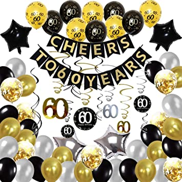 Hulaso 60th Birthday Party Decorations Set Black And Gold Decorations 60 Years Banner For 60th Birthday Decorations For Men Women With Black And Gold Balloons Amazon Co Uk Toys Games
