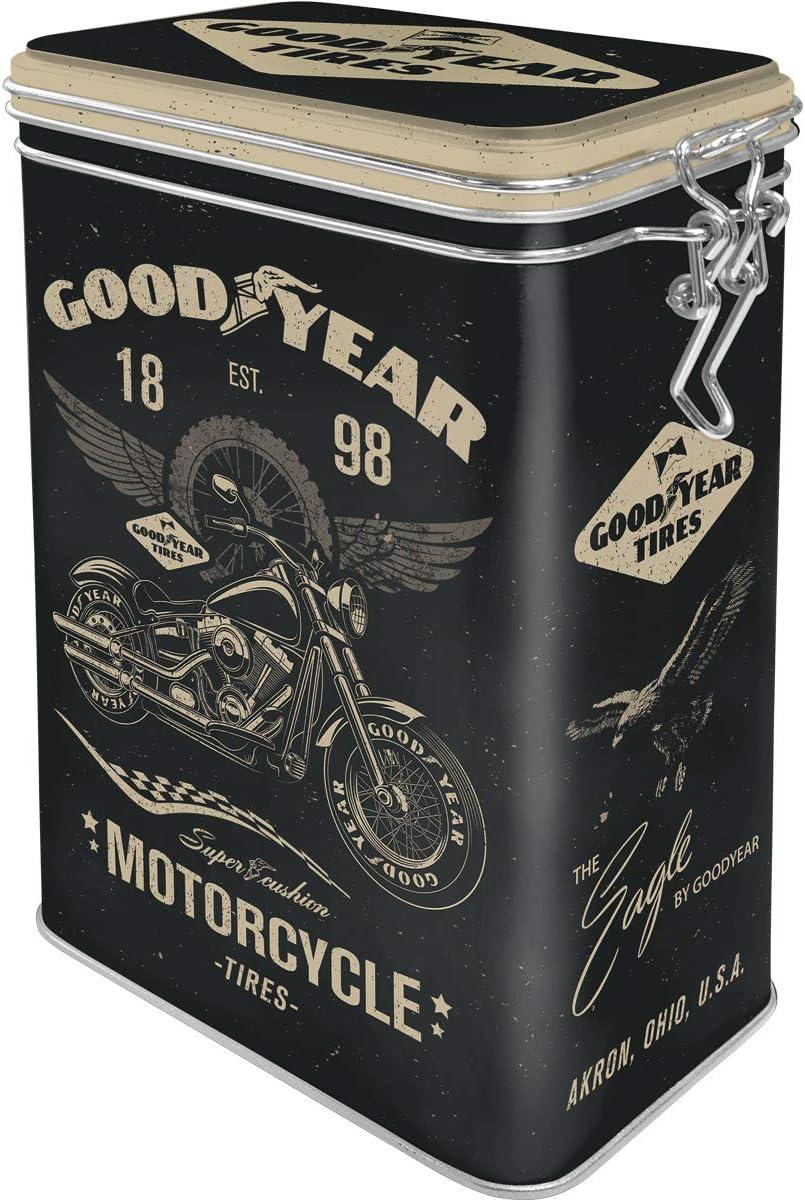 Aromadeckel Nostalgic-Art 31116 Motorcycle Metall Retro Aromadose Blech-Dose Kaffee-Dose Goodyear