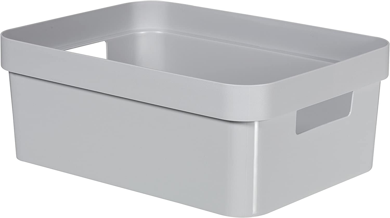 CURVER 226741 Infinity - Caja de almacenaje de plástico, 35,6 x 26,6 x 13,6 cm, 11 litros, Gris: Amazon.es: Hogar