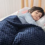 Bedsure Weighted Blanket for Children with Removable Washable Cover (41×60 inches, Navy) - 7lbs for a 70-90 lbs Child - 100%