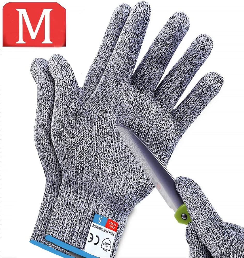 Gray 2 Pairs Cut Resistant Gloves Work Gloves Level 5 Working Safety Glove Man Cut Proof Gloves for Kitchen Butcher Outdoor Work Protective Hands(M Size /& L Size)