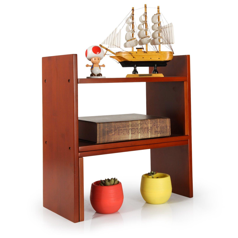 Amazoncom Niubee Adjustable Bamboo Desktop Bookshelf Countertop Bookcase,Book Storage Organizer