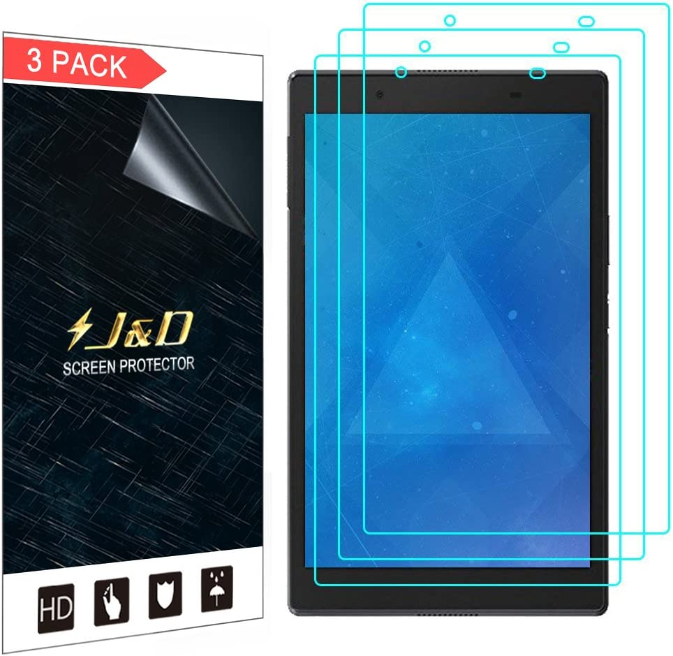 J&D Compatible for Lenovo Tab 4 8 inch Android Tablet Screen Protector (3-Pack), Full Coverage, HD Clear Protective Film Shield Screen Protector for Lenovo Tab 4 8 inch Android Tablet
