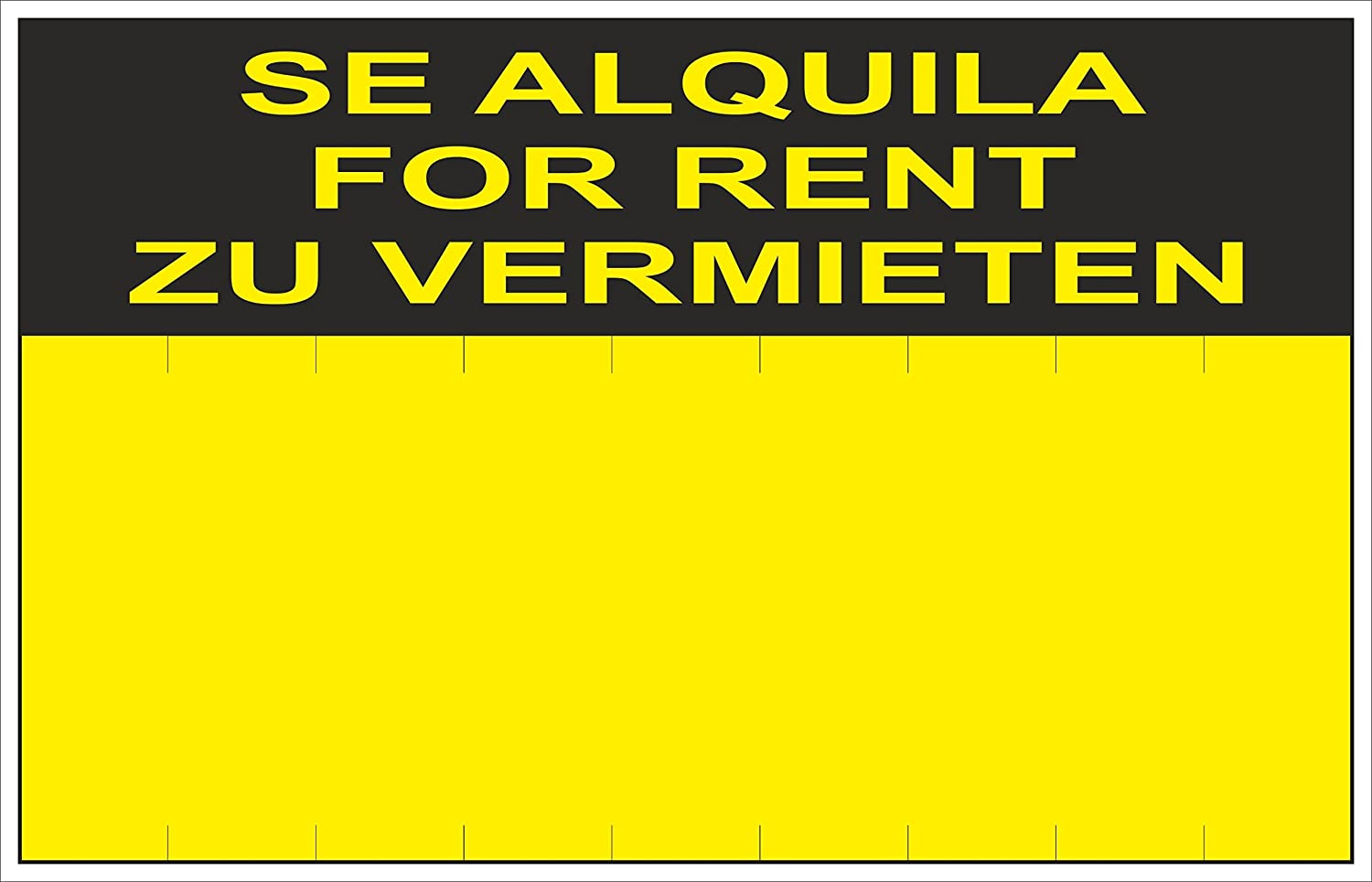 Normaluz RD51406 - Cartel Se Alquila For Rent Zu Vermieten PVC Glasspack 0,4 mm 45x70 cm