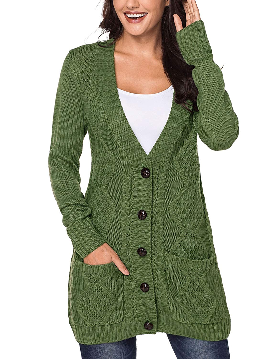 ca9cc9b078 luvamia Womens Long Sleeve Open Front Buttons Cable Knit Pocket Sweater  Cardigan